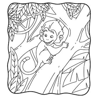 Livro para colorir ou página para crianças em preto e branco de macaco escalando árvore de desenho animado