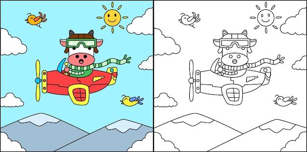 Livro para colorir ou página vaca no avião