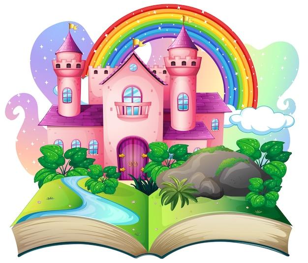 Livro pop-up 3d com tema de conto de fadas do castelo