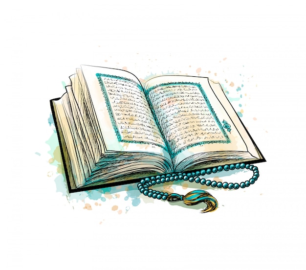 Livro sagrado do alcorão com rosário de respingo de aquarelas. feriado muçulmano, eid mubarak, eid al-fitr, ramadan kareem. esboço desenhado de mão