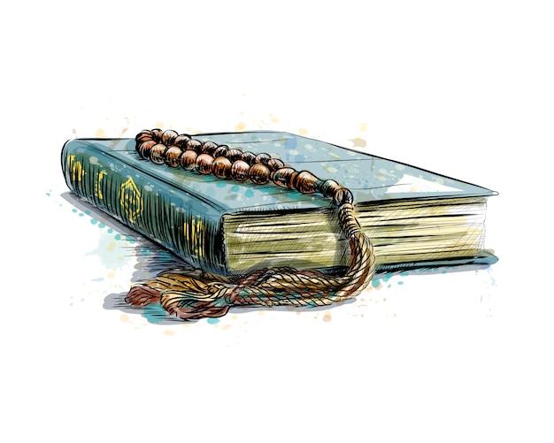Livro sagrado do alcorão com rosário, ilustração em vetor esboço desenhado à mão
