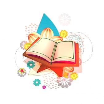 Livro sagrado islâmico, alcorão aberto no suporte de madeira, fundo de elementos florais coloridos. vector para festivais da comunidade muçulmana.