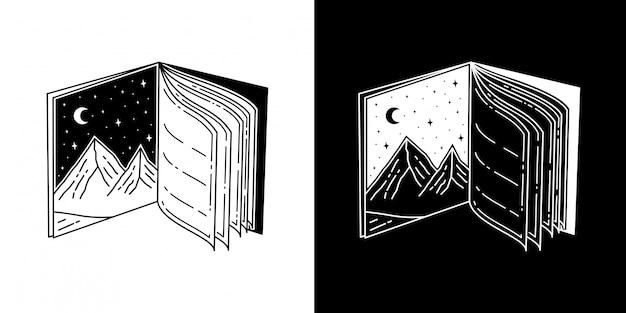 Livro tattoo monoline mountain design