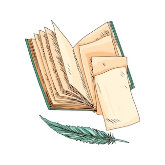Livro velho. papel de nota velho de vetor com pena antiga vintage. papel de pergaminho antigo. artigos de papelaria de escrita retro para trabalho de poesia ou educação.