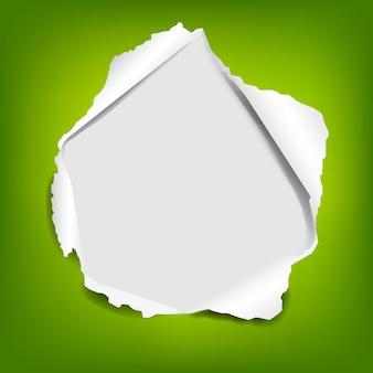 Livro verde com rasgado