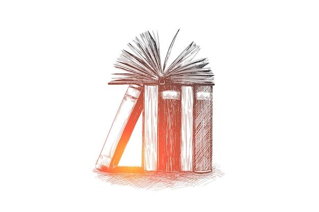 Livros abertos desenhados à mão em um esboço de conceito de biblioteca