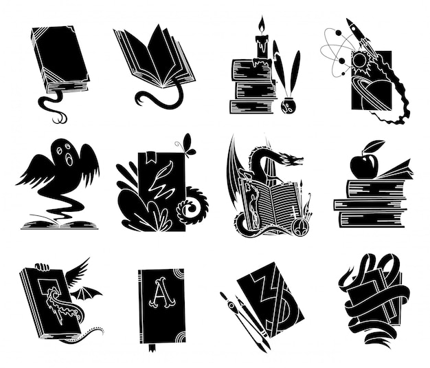 Livros abertos silhuetas negras