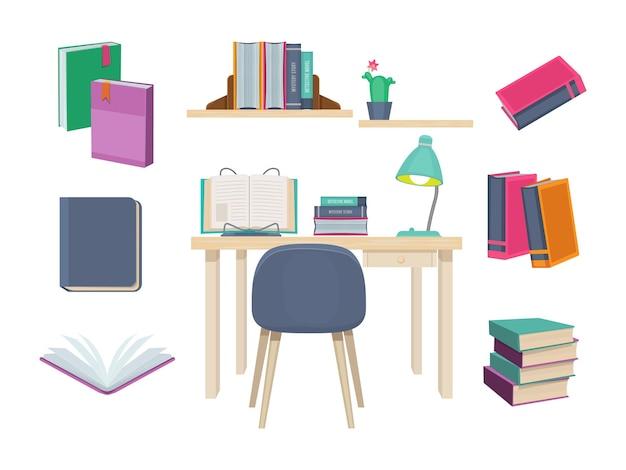 Livros antigos. símbolos de aprendizagem que publicam dicionário revistas, livros escolares conjunto de romance de história.