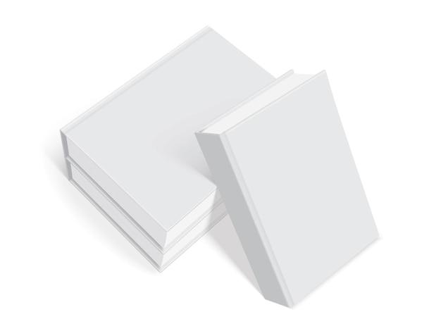 Livros brancos com capa grossa isolada no fundo branco