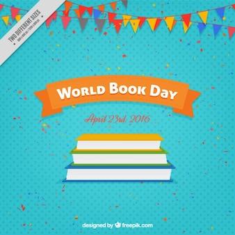 Livros coloridos e festões fundo