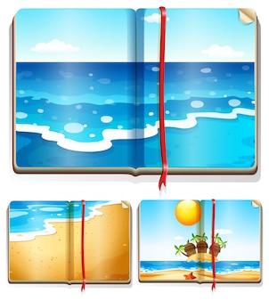 Livros com cenas do oceano