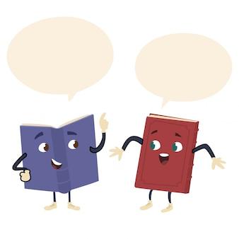 Livros com rostos conversando entre si