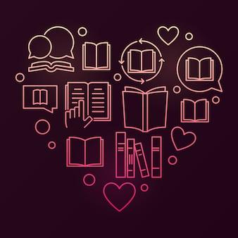Livros coração vetor colorido leitura e educação conceito linear ilustração em fundo escuro