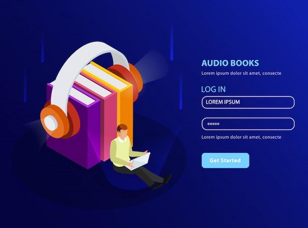 Livros de áudio isométricos no formato de modelo de página de destino com fones de ouvido e pilha de livros didáticos brilham ícones