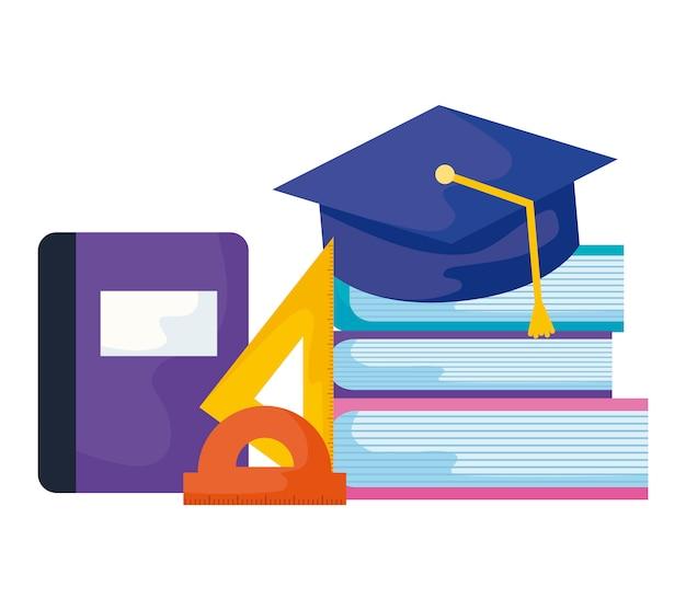 Livros de biblioteca com graduação de chapéu e conjunto de suprimentos