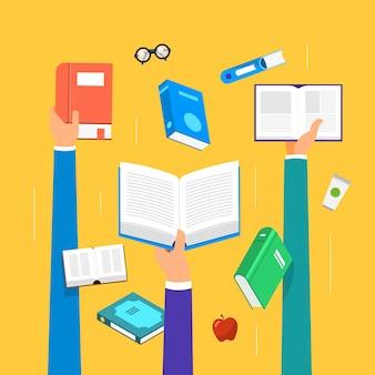Livros de conceito. educação e aprendizagem com as mãos seguram um livro. ilustrar.
