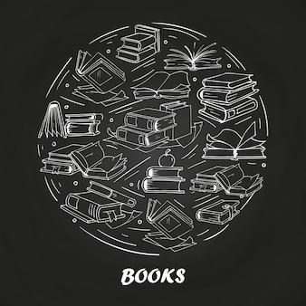 Livros de desenho no quadro-negro