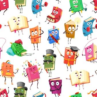 Livros de desenhos animados, livros best-sellers padrão sem emenda de personagens felizes, de fundo vector. biblioteca escolar e livros educacionais lendo romance ou dicionário com rostos sorridentes engraçados sobre ensino ou esporte