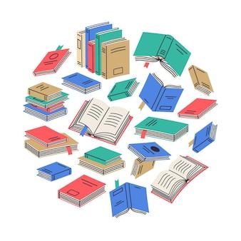 Livros de doodle redondos de fundo de vetor de composição de desenhos animados