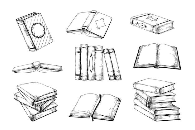 Livros de doodle vintage abertos e fechados em pilha e pilha