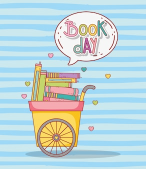 Livros de educação dentro do carrinho com bolha de bate-papo