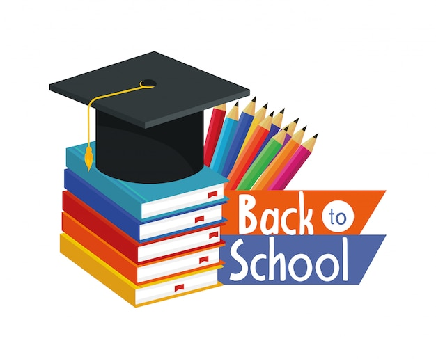 Livros de educação e graduação cap e lápis de cores