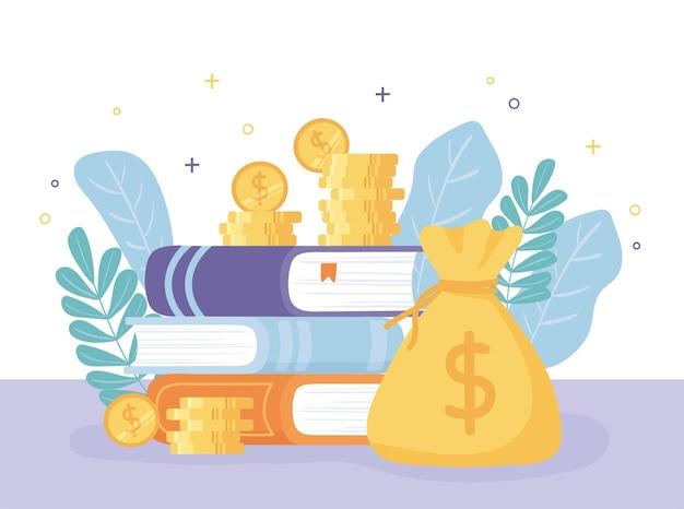 Livros de investir com moedas e folhas