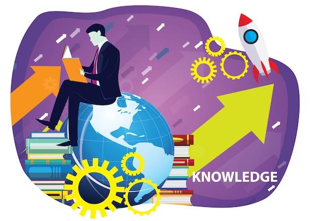 Livros de leitura do empresário. conceito de educação de negócios de conhecimento