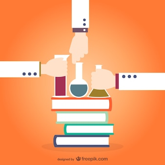 Livros de química e tubos de ensaio