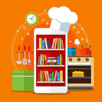 Livros de receitas online. conceito de busca de receitas na web. design plano Vetor Premium
