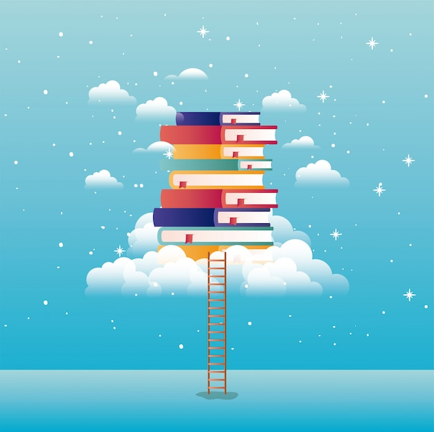 Livros de texto com nuvem e escada