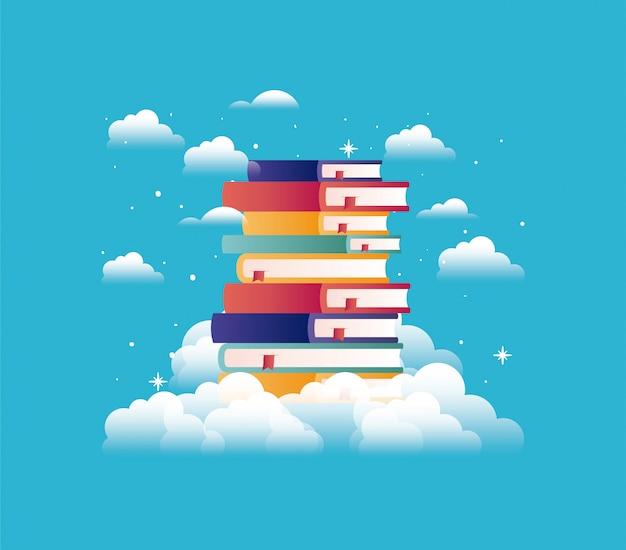 Livros de texto com nuvem
