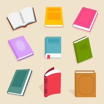 Livros de vetor plana e leitura de documentos. abra o livro didático de ciência, enciclopédia e ícones de dicionário