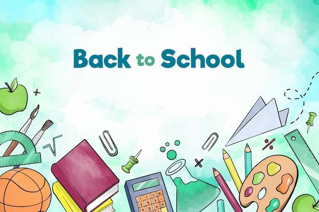 Livros e acessórios de volta ao fundo da escola