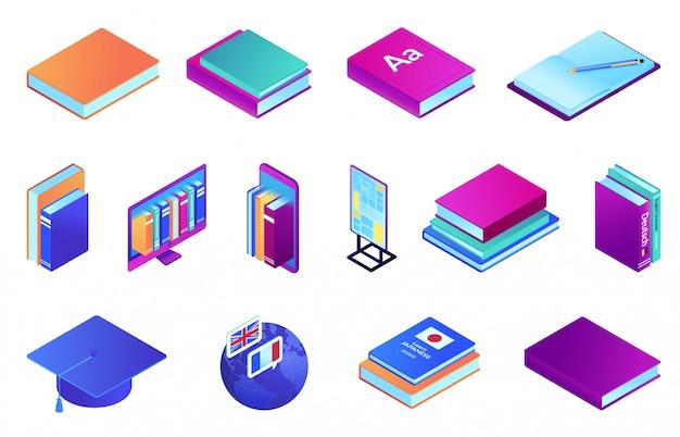 Livros e conjunto de ilustração 3d isométrica de educação on-line.