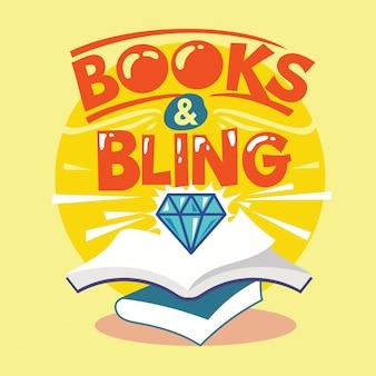 Livros e frase bling