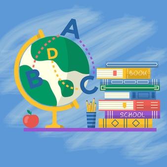 Livros e globo para o pôster de volta às aulas. modelo de vetor para banner, promoção, convite, anúncio