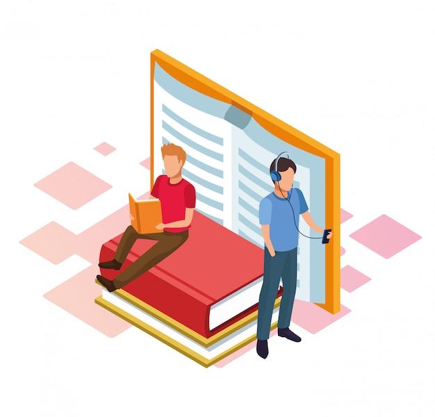 Livros e homens lendo em branco