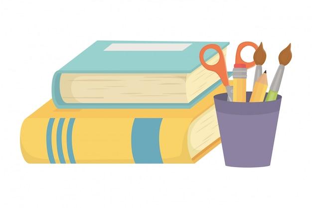 Livros e material escolar design