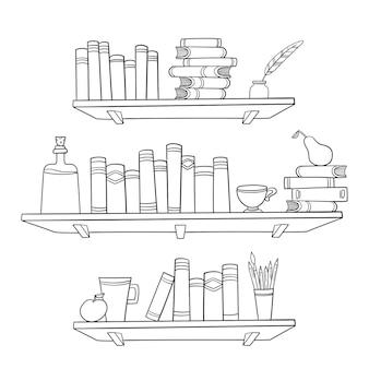 Livros e outras coisas nas prateleiras. ilustração.
