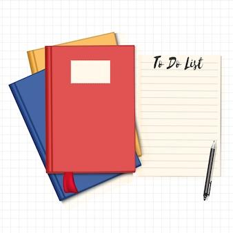 Livros e papel no fundo de linhas de grade