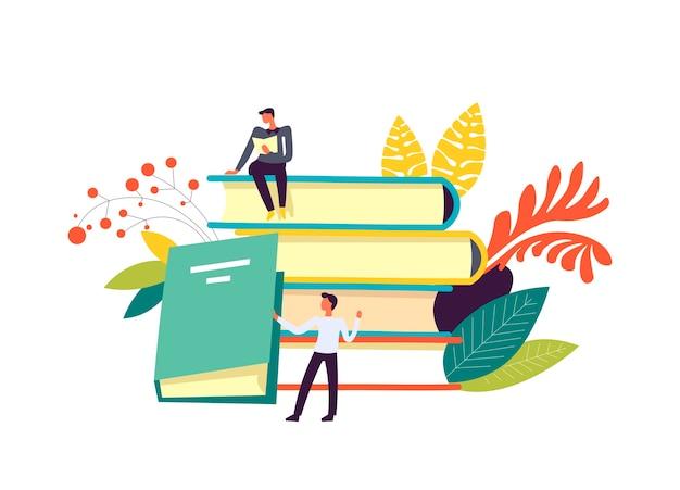 Livros e pessoas lendo publicações decoração isolada