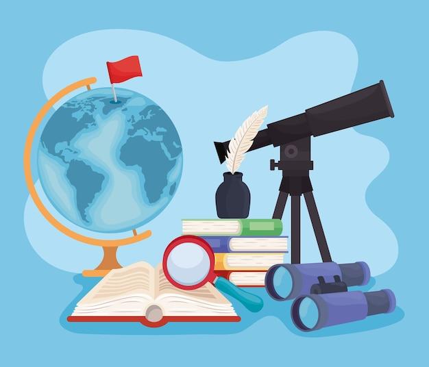 Livros e suprimentos de geografia