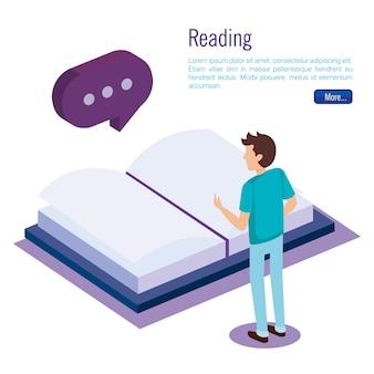 Livros escola com trabalho em equipe pessoas isométrica