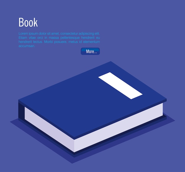 Livros escola isométrica ícones vector design ilustração