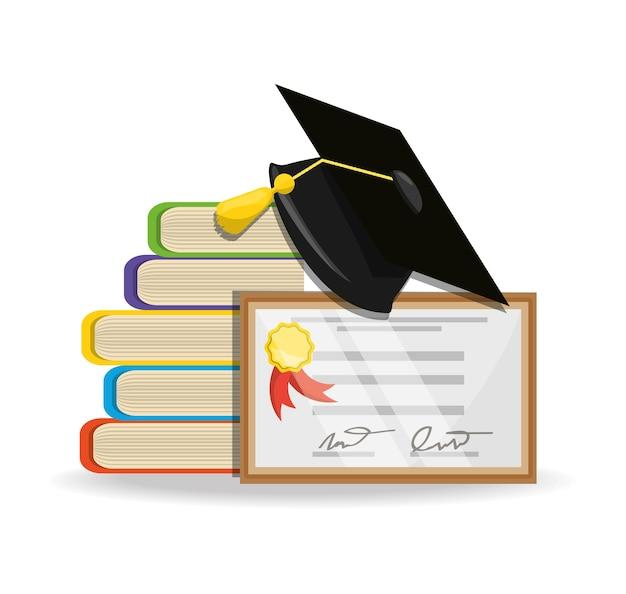 Livros fofos com graduação diploma e boné