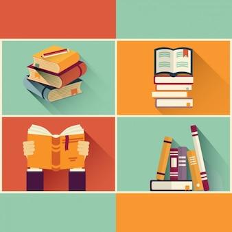 Livros fundo retro
