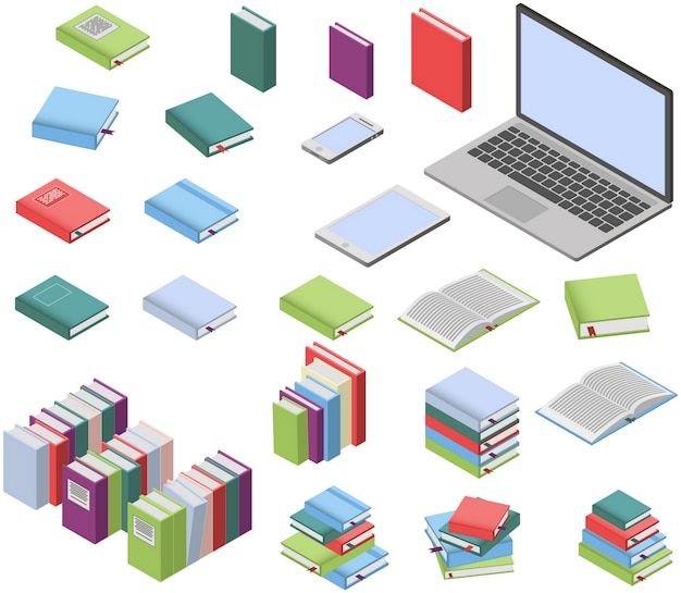 Livros isométricos e conjunto de laptop