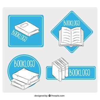 Livros logotipos com formas geométricas azuis