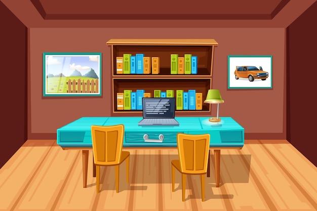 Livros na estante da biblioteca da sala de leitura em estilo cartoon